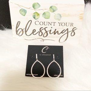 Cézanne Jewelry - Sterling Silver & Rhinestone Tear Drop Earrings